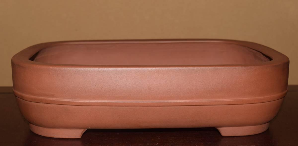 中国古盆器<中国宜興(陽義紫砂・朱泥・在落款)実用性・泥味抜群>切立ち撫で角胴紐長方鉢・間口36,3cm