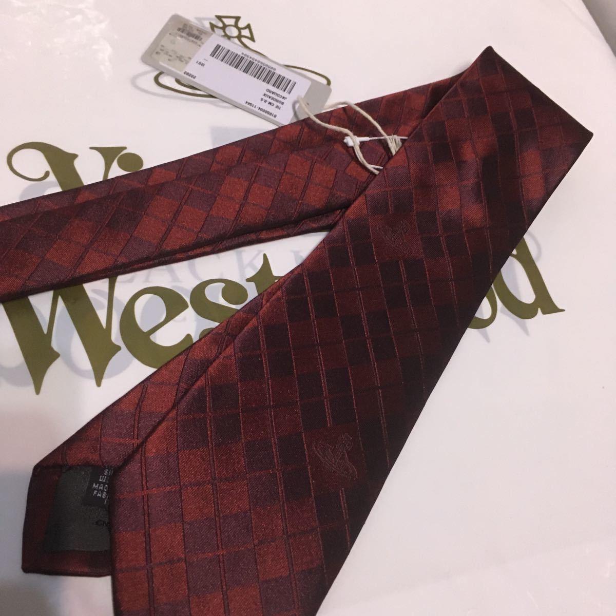 ●新品●送料込/13200円 Vivienne Westwood ネクタイ 赤×ワイン ダイヤ柄 シルク100% ヴィヴィアンウエストウッド ビビアン イタリア製_画像10