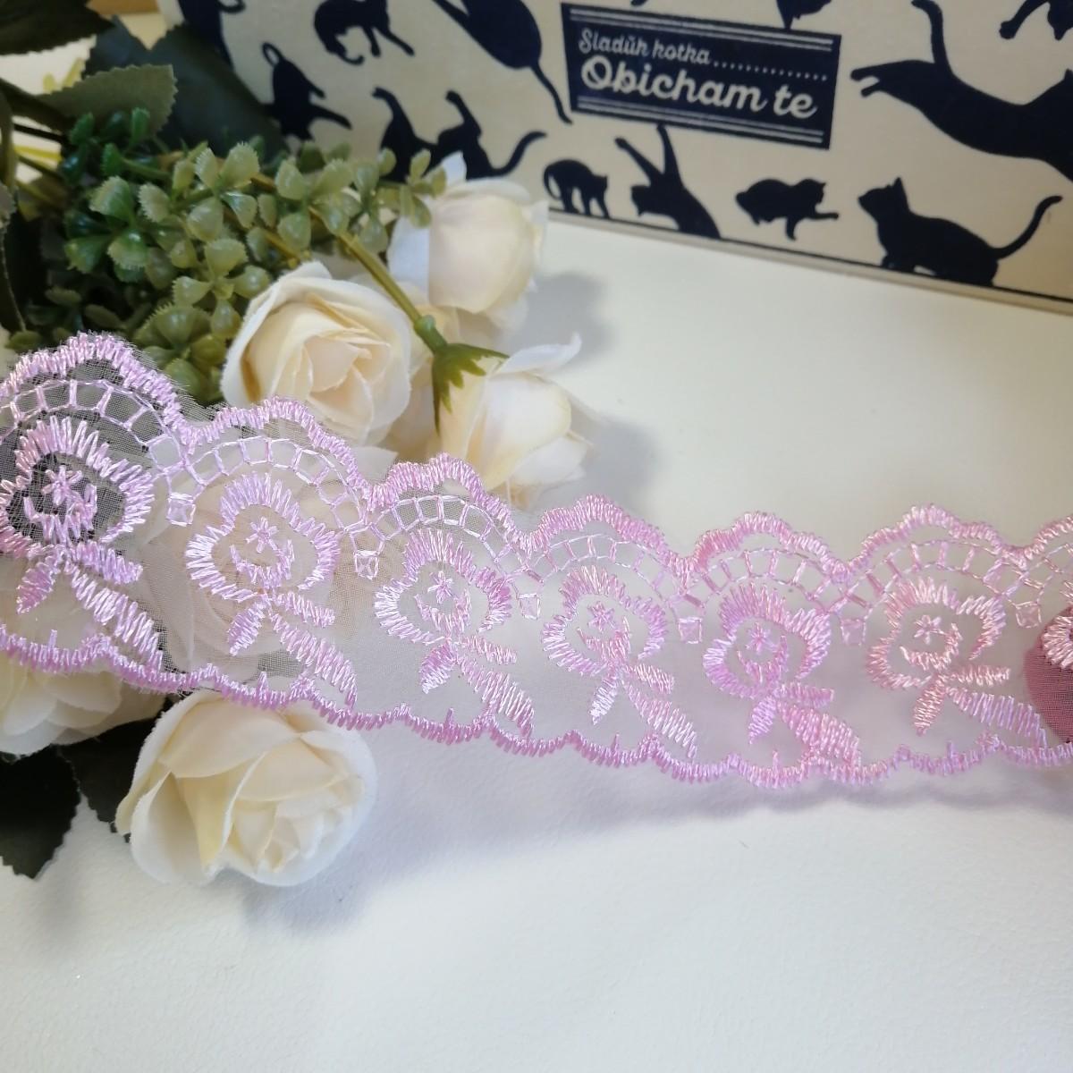 手作り ハンドメイド レース 編み 素材 材料 生地 チュールレース 薔薇 H1