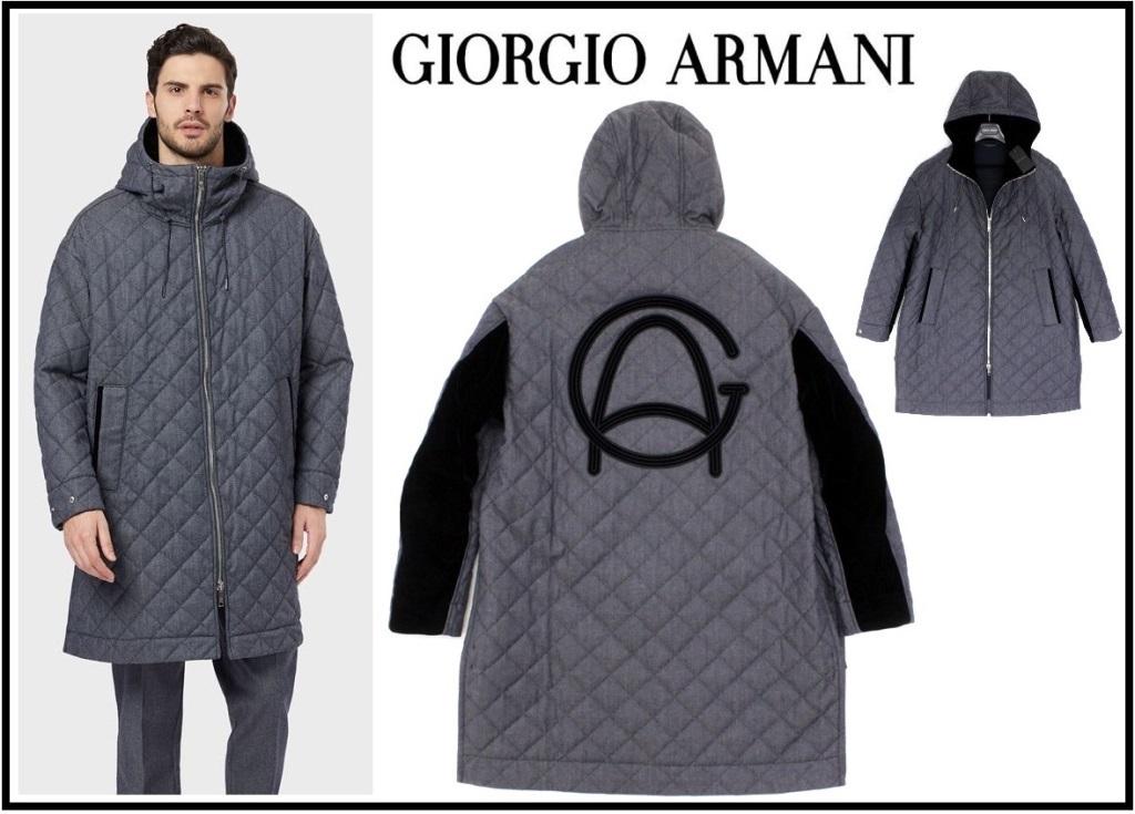 49万新品◆52=L◆黒ラベル◆GIORGIOアルマーニ GAロゴ中綿入りキルティングデニムキャバ