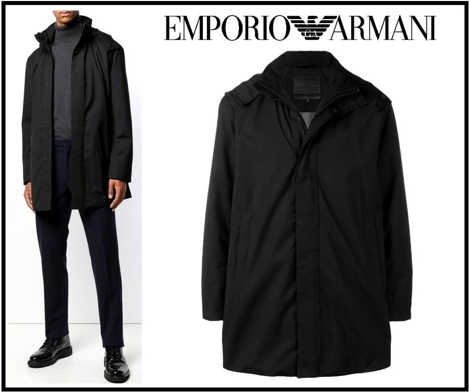 15万新品◆56=3XL◆EMPORIO ARMANIアルマーニ 黒中綿入りコート フード着脱可1円