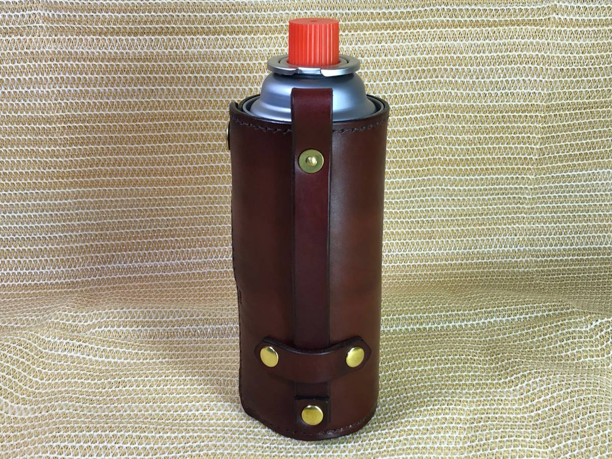CB缶ホルダー CB缶カバー サドルレザー ハンドメイド ビンテージチェリーブラウン