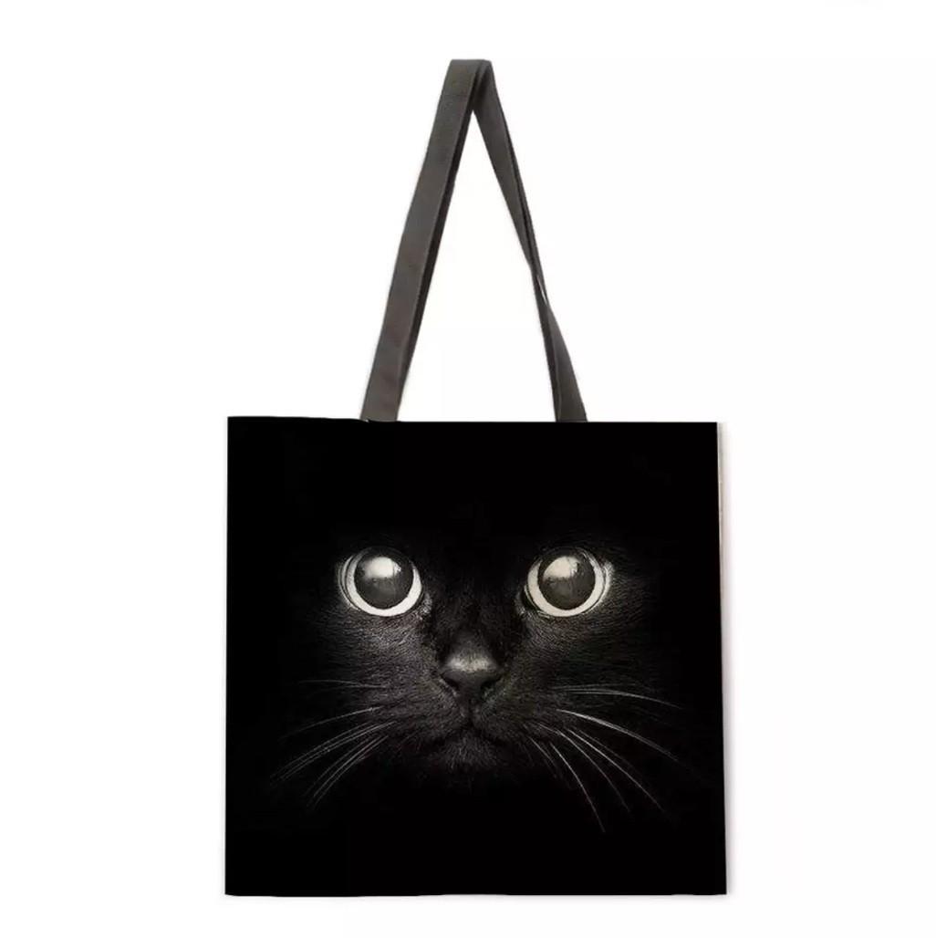 トートバッグ エコバッグ キャンバスバッグ ショルダーバッグ マザーズバッグ 大容量 黒猫 猫 くろねこ ねこ クロネコ ネコ