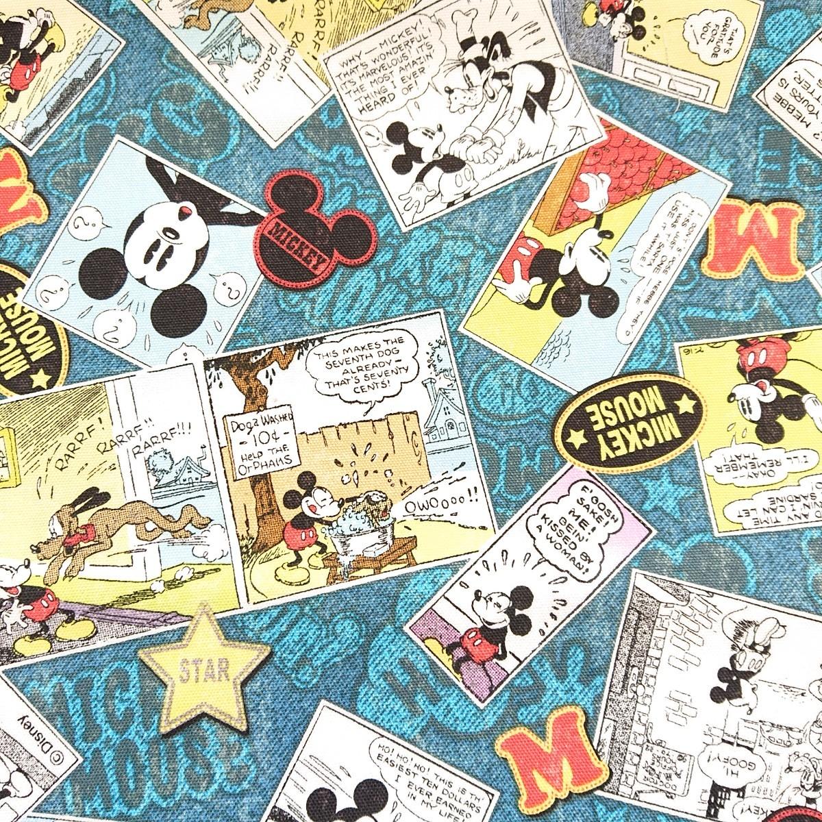 ミッキーマウス コミック柄 オックス生地 ディズニー