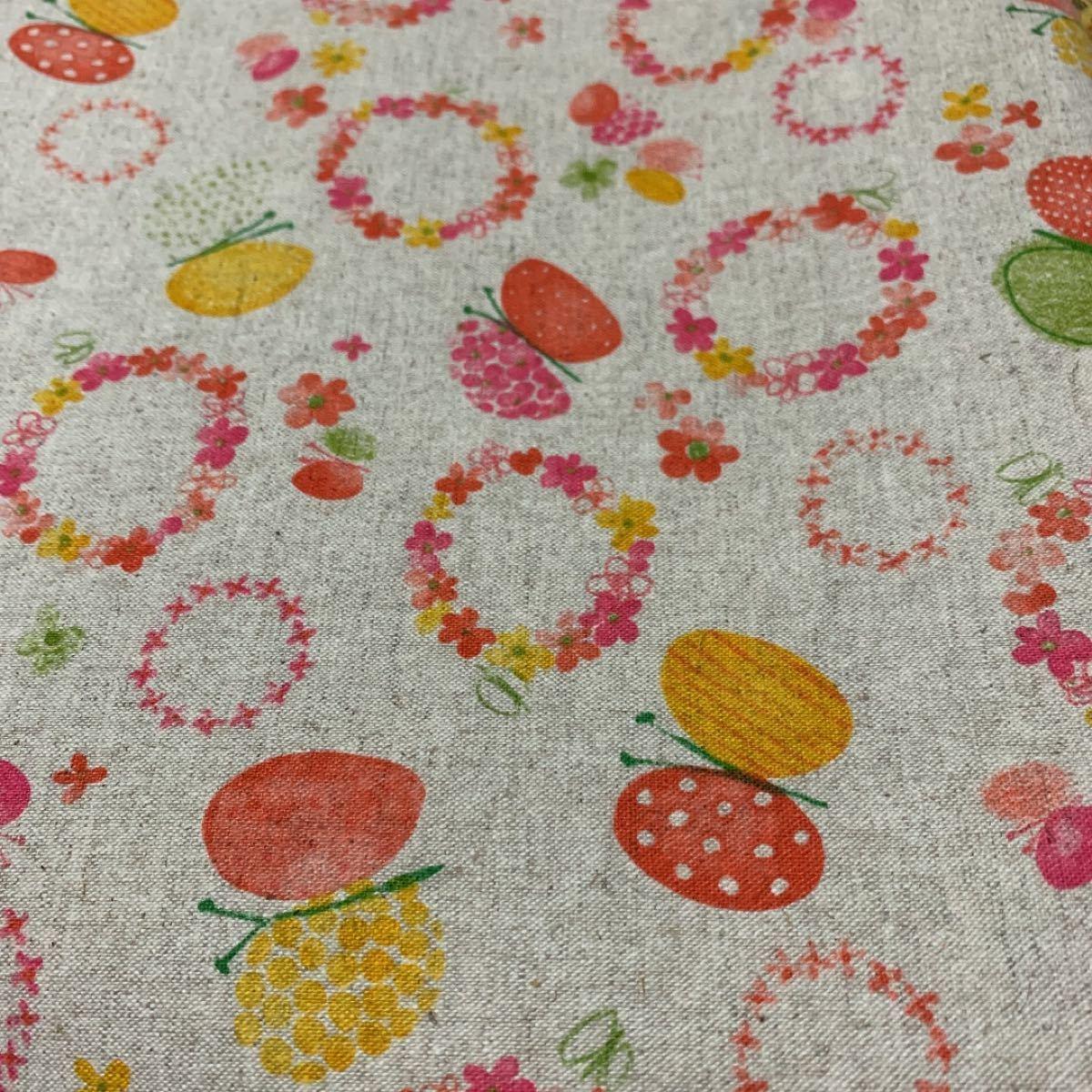 綿麻生地 蝶々&お花柄セット