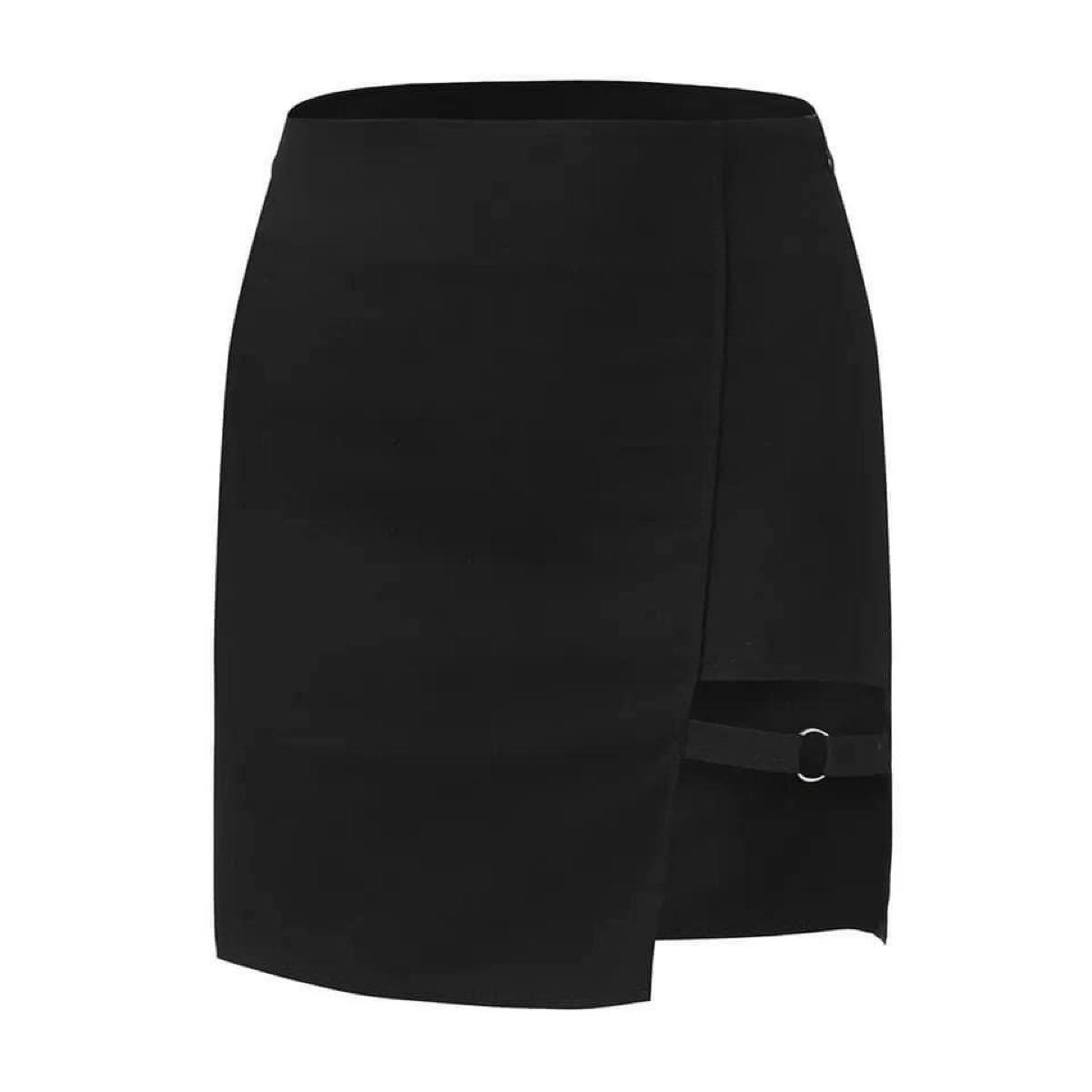 タイトスカート ミニスカート ブラック セクシー スカート アシンメトリー 美脚 黒 韓国ファッション オルチャン S コスプレ