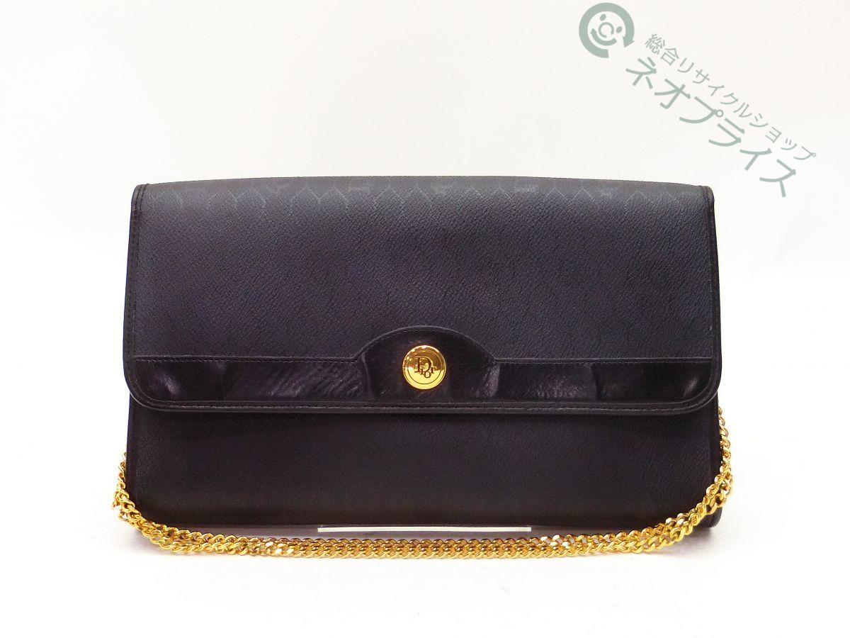 ◆N3060 Dior ディオール PVC × レザー クラッチ 2WAY チェーン ショルダー バッグ 良品
