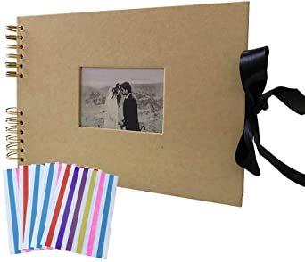 イエロー 手作り アルバム DIY 写真集 黒台紙40枚 スクラップブッキング 手作りフォトブック ラブメモリー 写真収納 結婚_画像1