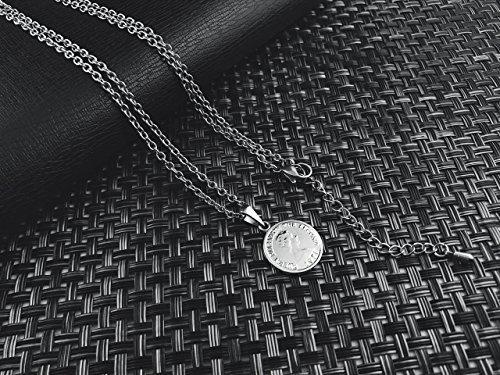 [ラグレ]LUXRE コイン ロング ネックレス シルバー ペンダント チェーン約55cm~60cm (調整アジャスター付き)L_画像2