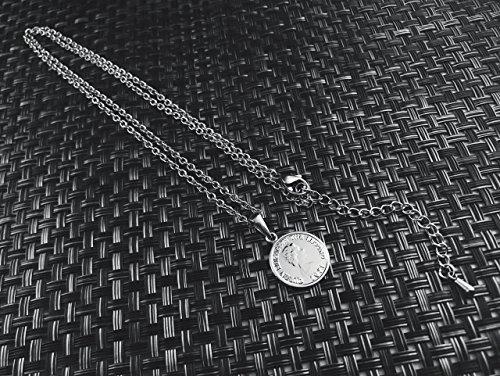 [ラグレ]LUXRE コイン ロング ネックレス シルバー ペンダント チェーン約55cm~60cm (調整アジャスター付き)L_画像5