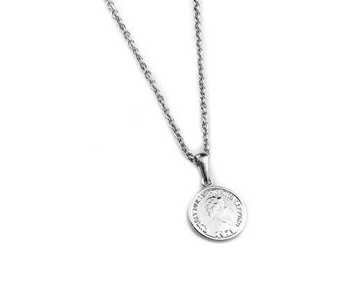 [ラグレ]LUXRE コイン ロング ネックレス シルバー ペンダント チェーン約55cm~60cm (調整アジャスター付き)L_画像1