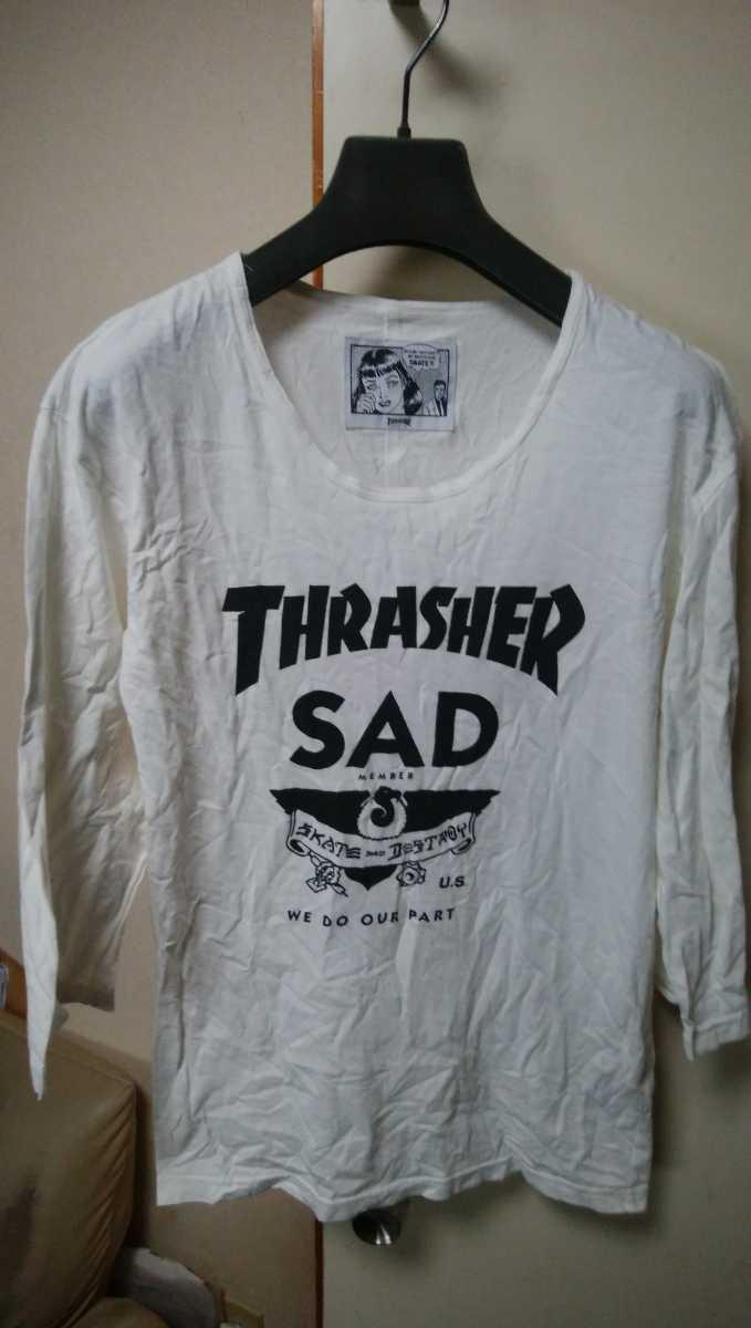 国内 正規 商品 THRASHER SKATE AND DESTROY 7/S TEE SHIRTS M 白 /【検索】スラッシャー パンツ PANTS SHIRTS HOODED SWEAT PARKER HOODIE