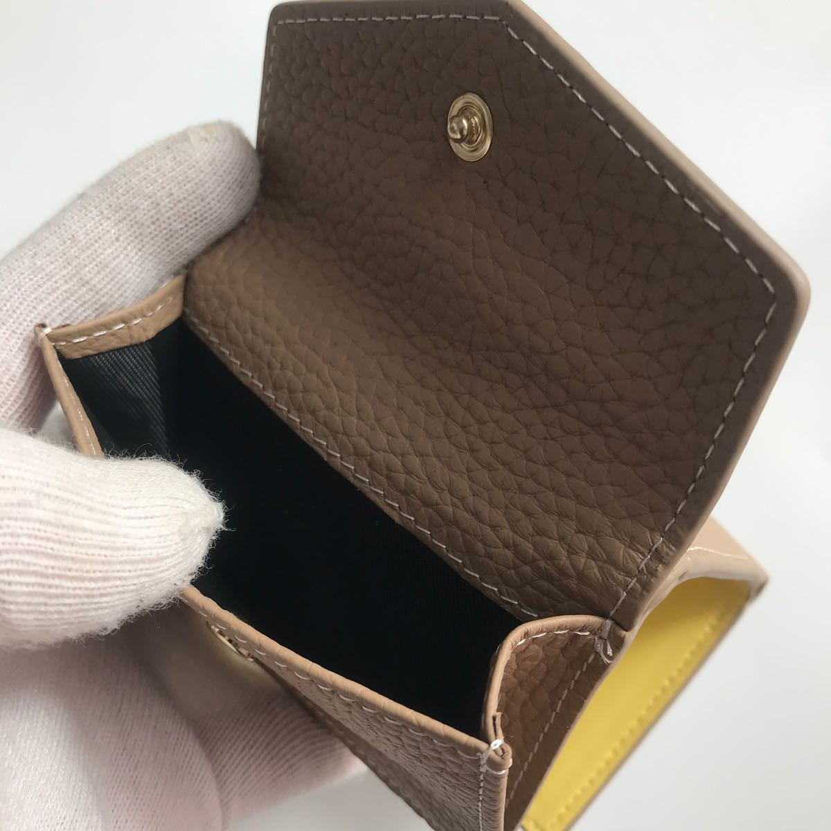 イタリアンレザー 牛革 本革 三つ折り財布 コンパクト ミニ財布 人気