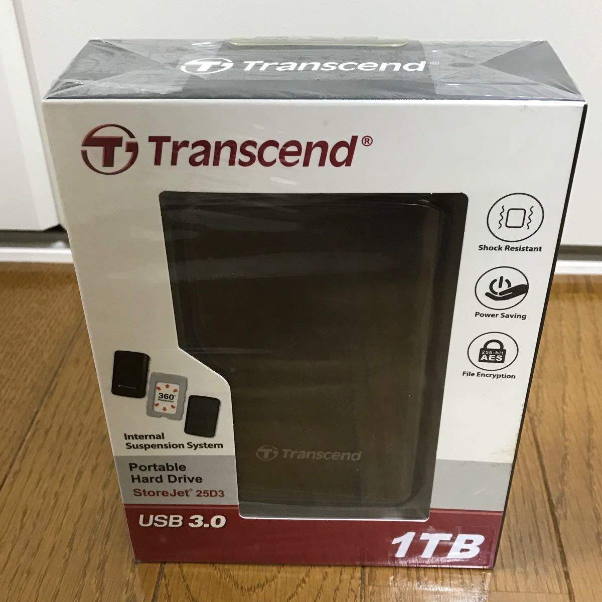 Transcend 外付けハードディスク 1TB TS1TSJ25D3 新品未開封!