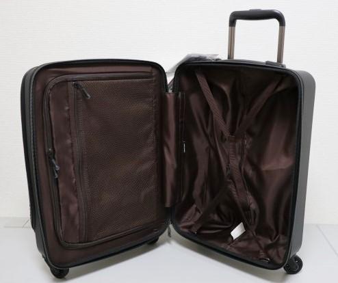 【送料無料】新品 スーツケース 機内持ち込み 小型 超軽量 フロントオープン キャリー ゼログラZER2053-46 4輪TSA マットブラック黒S A314_画像4