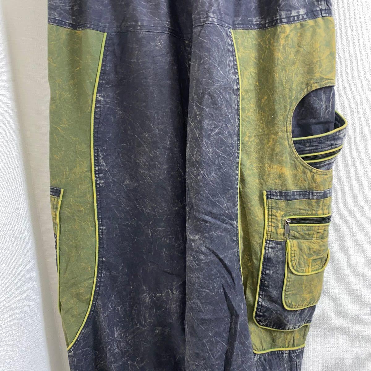 ワイド サルエル バルーン 変形 ビッグ イージー パンツ 古着 韓国系 ストリート モード バイカラー ウォッシュ 加工