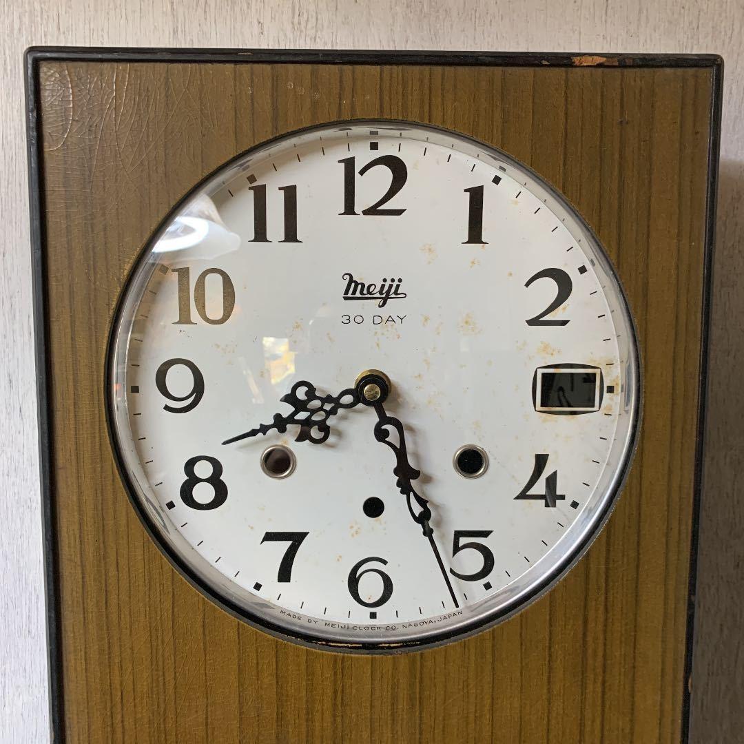 Meiji アンティーク 掛け時計 無音 ムーブメント交換済 柱時計をリメイク_画像2