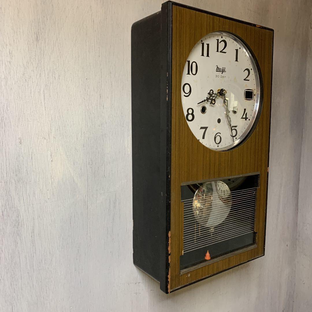 Meiji アンティーク 掛け時計 無音 ムーブメント交換済 柱時計をリメイク_画像3