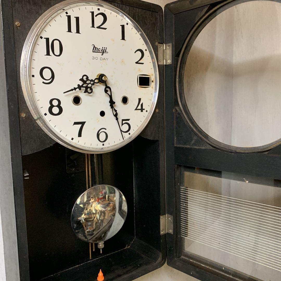Meiji アンティーク 掛け時計 無音 ムーブメント交換済 柱時計をリメイク_画像5