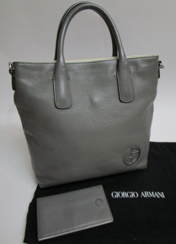 正規品 GIORGIO ARMANI 財布付き レザーバッグ ジョルジオ・アルマーニ ショルダーバッグ トート メンズ MENS グレー GREY YB