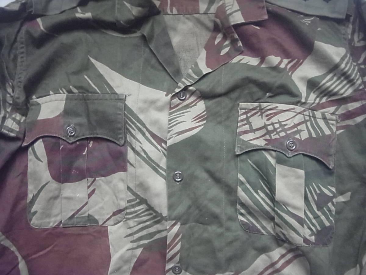 実物 ローデシア軍 初付け中尉階級章付き迷彩長袖コンバットシャツ 良サイズ 南アフリカ 特殊部隊 セルーススカウト SAS RECCE 32大隊 PMC_初期ポケットフラップデザイン