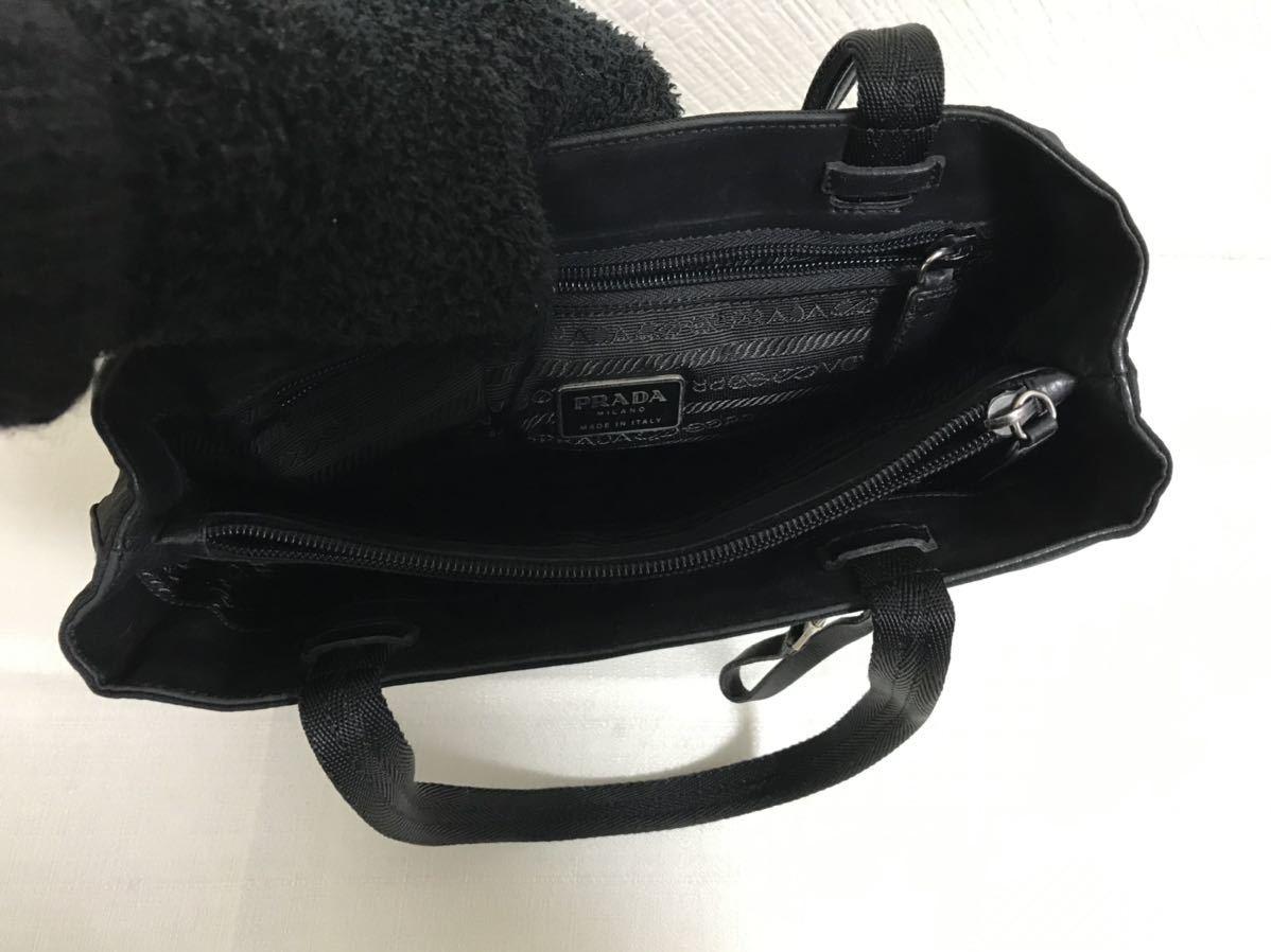 美品本物プラダPRADA本革レザーナイロンビジネストートバッグミニボストンハンドバック旅行トラベル黒ブラックメンズレディース