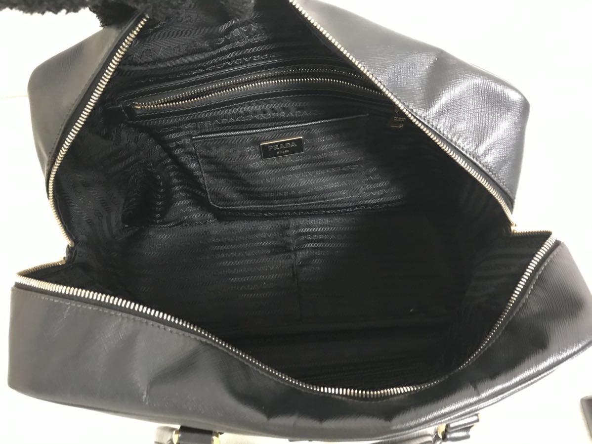 本物プラダPRADA本革サフィアーノレザービジネスボストンバッグトートハンドバック旅行トラベル黒ブラックメンズレディース