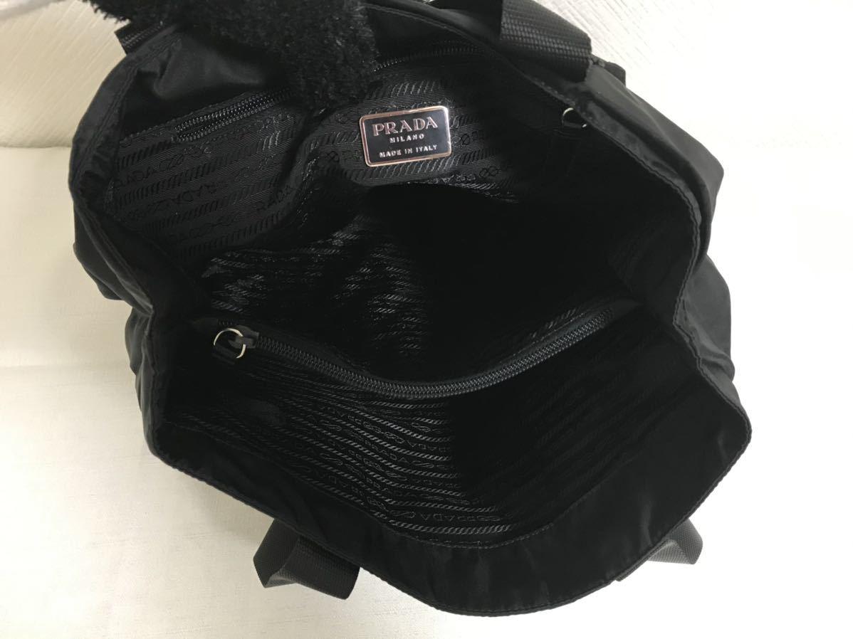 極美品本物プラダPRADA本革レザーナイロンビジネストートバッグボストンハンドバック旅行トラベル黒ブラックメンズレディース