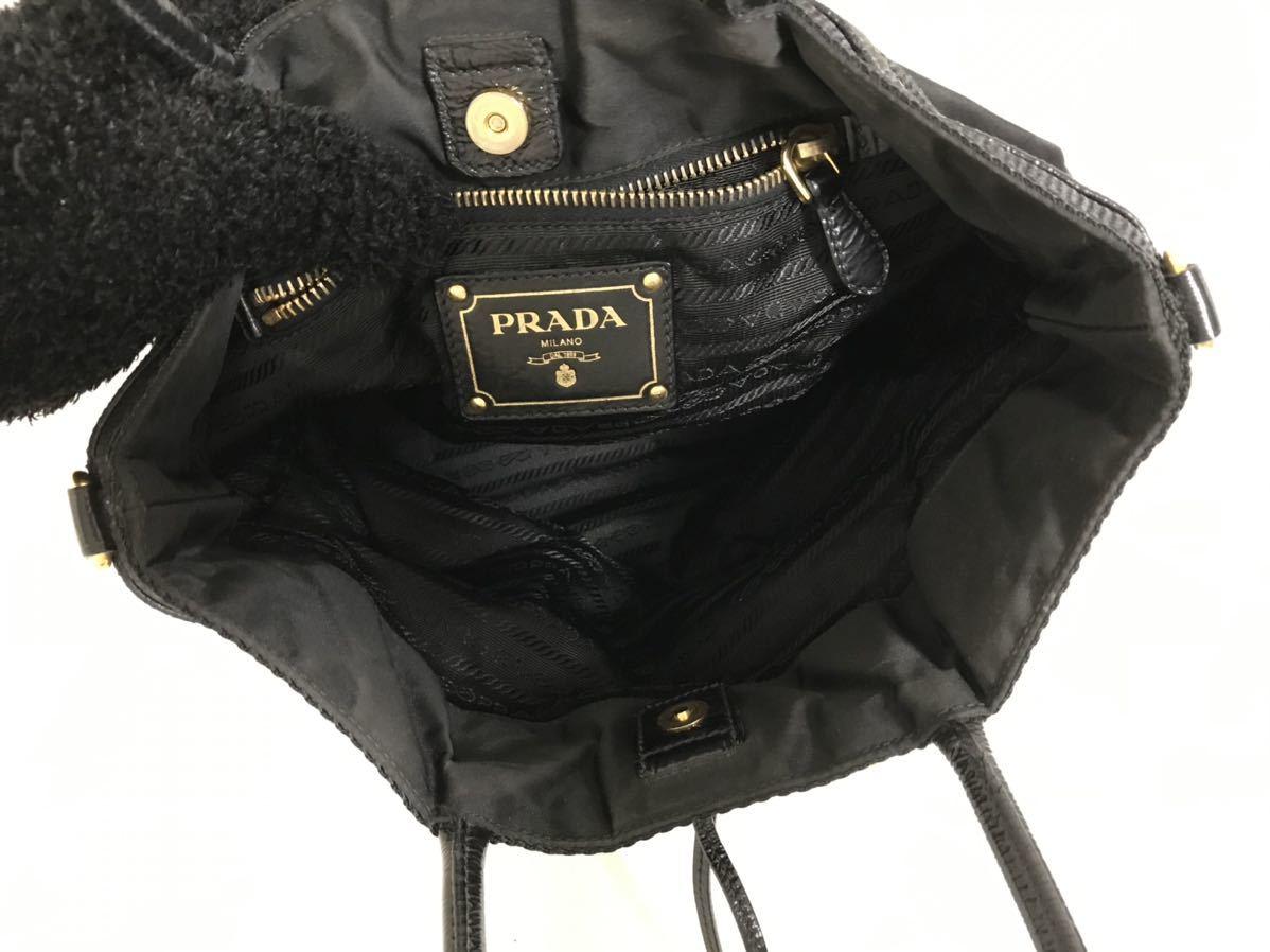 美品本物プラダPRADA本革エナメルレザーナイロンビジネスミニトートハンドバッグボストンバック旅行トラベル黒ブラックメンズレディース