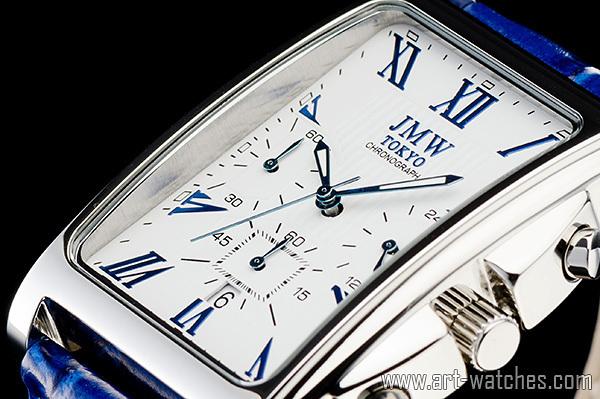 【1円開始】ホワイト&ブルー 角型 ローマ数字インデックス 上級 クロノグラフ 本革ベルト 新品 腕時計