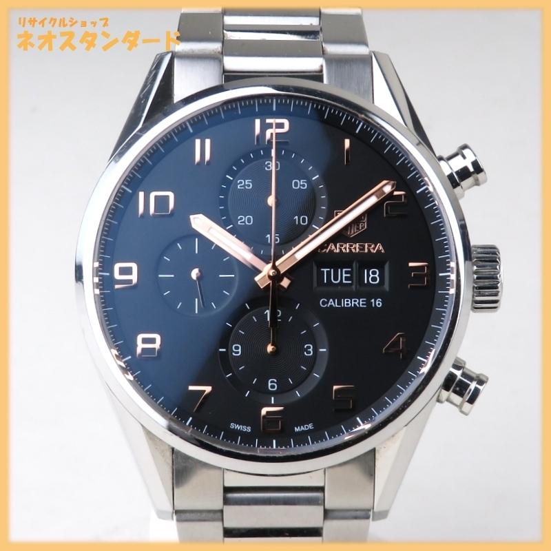 1円~ タグホイヤー カレラ キャリバー16 クロノグラフ CV2A1AB.BA0738 自動巻き SS ブラック文字盤 メンズ 腕時計 TAG HEUER 中古