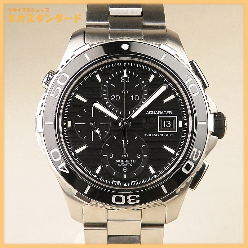 1円~ タグホイヤー アクアレーサー クロノグラフ キャリバー16 CAK2110 自動巻き SS ブラック文字盤 メンズ 腕時計 TAG HEUER