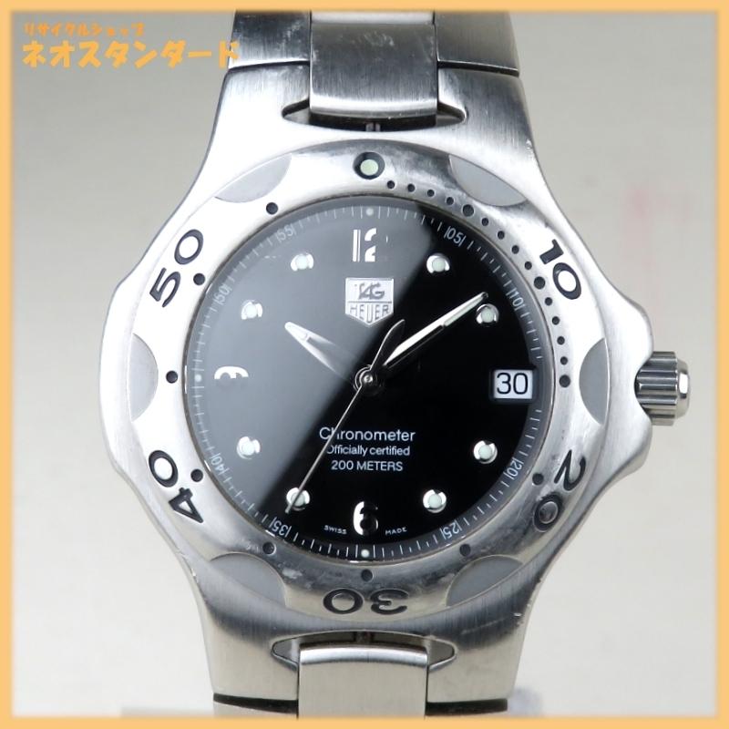 1円~ タグホイヤー キリウム クロノメーター デイト 200M WL5111-0 自動巻き SS ブラック文字盤 メンズ 腕時計 TAG HEUER 中古