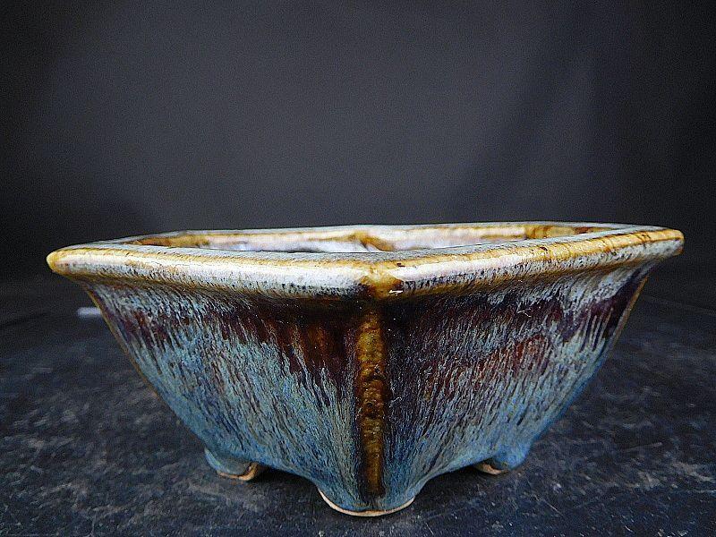 【盆栽 樂屋】◆相羽鴻陽 海鼠釉六角鉢(未使用品・間口14.1)◆1/8