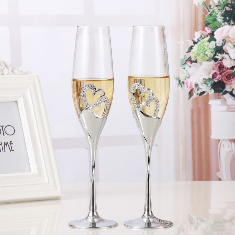 セットでかわいい☆クリスタル シャンパングラス 2ピース 結婚式 乾杯 グラス パーティー ウェディング プレゼント ハート かわいい_画像1