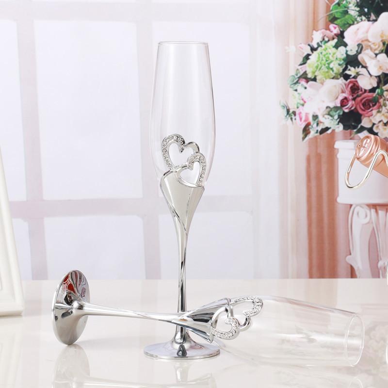 セットでかわいい☆クリスタル シャンパングラス 2ピース 結婚式 乾杯 グラス パーティー ウェディング プレゼント ハート かわいい_画像4