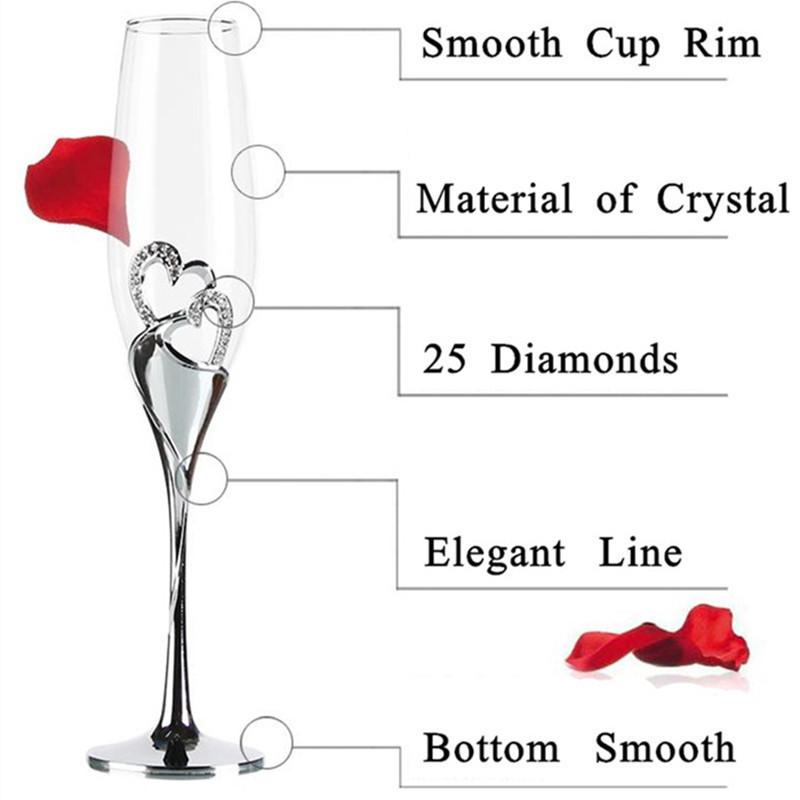 セットでかわいい☆クリスタル シャンパングラス 2ピース 結婚式 乾杯 グラス パーティー ウェディング プレゼント ハート かわいい_画像6