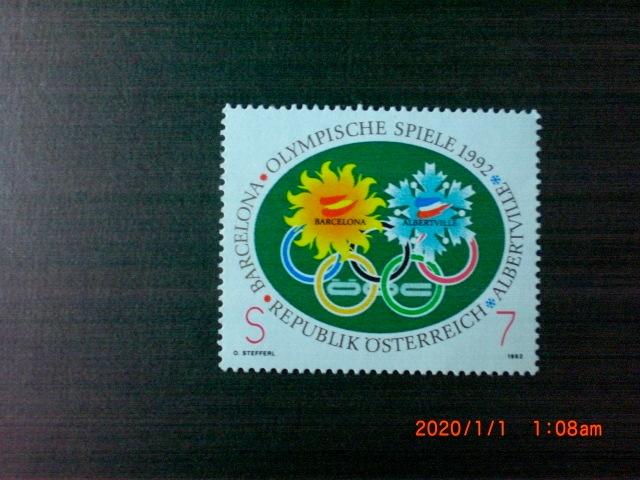 1992年の五輪記念ーバルセロナ・アルバータビル 1種完 未使用 1992年 オーストリア共和国 VF/NH_画像1