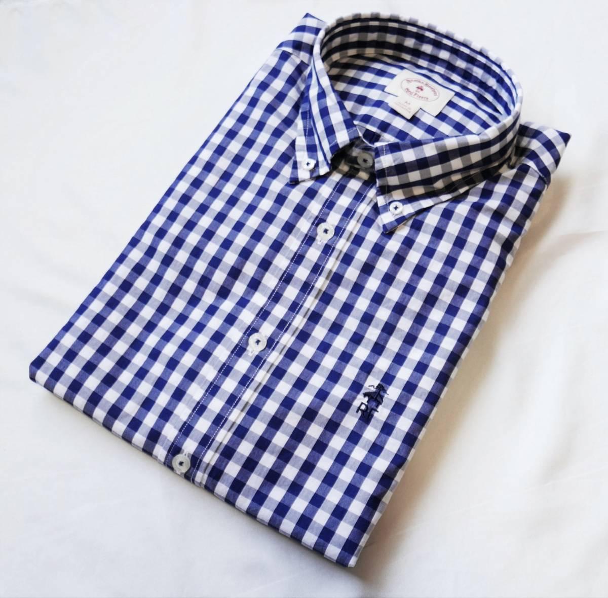 新品未着用 ブルックスブラザーズ正規品 レッドフリースギンガムボタンダウンシャツ 日本サイズM~L相当 ネイビー ジーンズにも_画像1