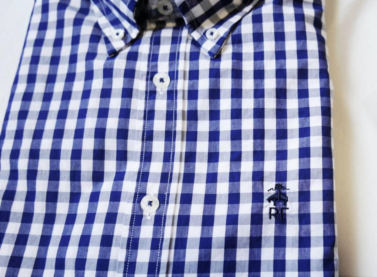 新品未着用 ブルックスブラザーズ正規品 レッドフリースギンガムボタンダウンシャツ 日本サイズM~L相当 ネイビー ジーンズにも_画像3