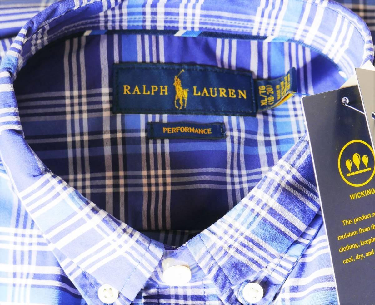 新品未着用 ポロラルフローレン正規品 長袖ポプリンボタンダウンシャツ ブルー系格子 日本メンズM~L相当 高級ブランド フリースにも_画像2