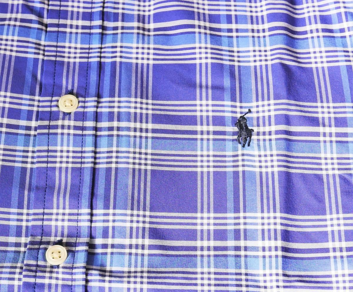 新品未着用 ポロラルフローレン正規品 長袖ポプリンボタンダウンシャツ ブルー系格子 日本メンズM~L相当 高級ブランド フリースにも_画像3