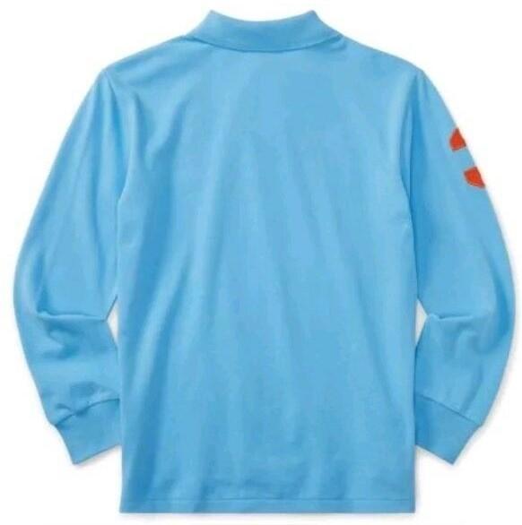新品未着用 ポロラルフローレン正規品 長袖ビッグポニーコットンポロシャツ 水色 日本メンズM~L相当 高級アメリカンブランド_画像4