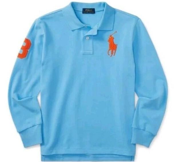 新品未着用 ポロラルフローレン正規品 長袖ビッグポニーコットンポロシャツ 水色 日本メンズM~L相当 高級アメリカンブランド_画像3