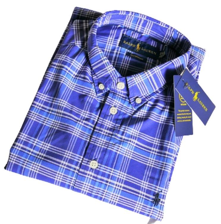 新品未着用 ポロラルフローレン正規品 長袖ポプリンボタンダウンシャツ ブルー系格子 日本メンズM~L相当 高級ブランド フリースにも_画像1