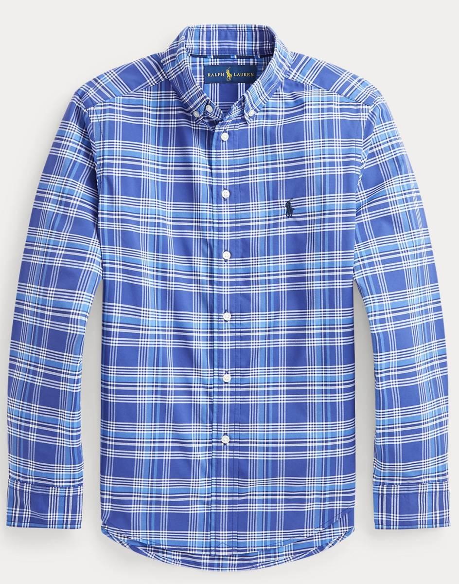 新品未着用 ポロラルフローレン正規品 長袖ポプリンボタンダウンシャツ ブルー系格子 日本メンズM~L相当 高級ブランド フリースにも_画像4
