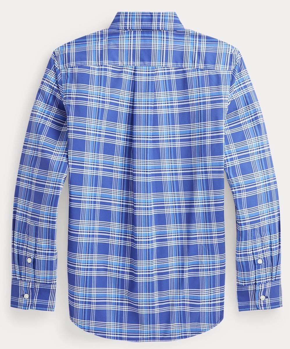 新品未着用 ポロラルフローレン正規品 長袖ポプリンボタンダウンシャツ ブルー系格子 日本メンズM~L相当 高級ブランド フリースにも_画像5
