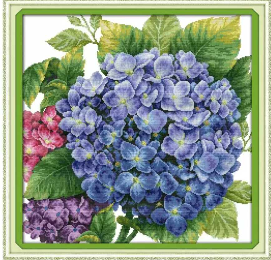 クロスステッチキット あじさい 紫陽花 アジサイ 48×48cm 14CT 刺繍