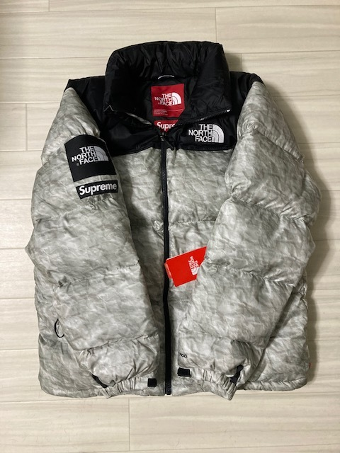 新品・未使用 / L サイズ / Supreme × North Face Paper Print Nuptse Jacket ペーパープリントヌプシジャケット / タグ付き