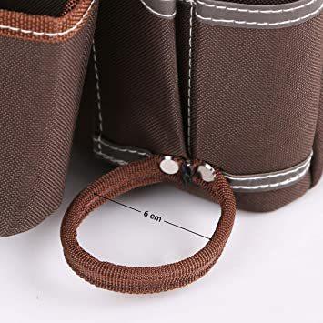 ブラウン HV 2段タイプ腰袋 13x24x26CM ベルト付き 工具バッグ ツールポーチ ウエスト 差し入れ 仕切り 電工 大_画像4